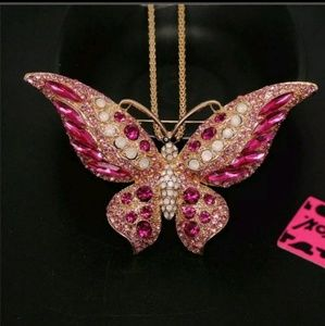 New Betesy Johnson Pink Butterfly Necklace